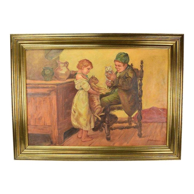 """1920's Large """"Brother Sister Playing W Cats"""" Oil Painting Signed Lawson For Sale"""