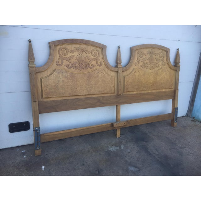 American Of Martinsville Mid Century Burl Wood King Size Headboard - Image 4 of 5