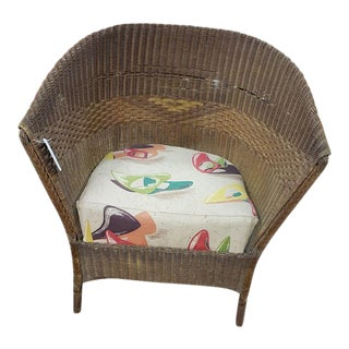 1940s Vintage Wicker Porch Chair For Sale