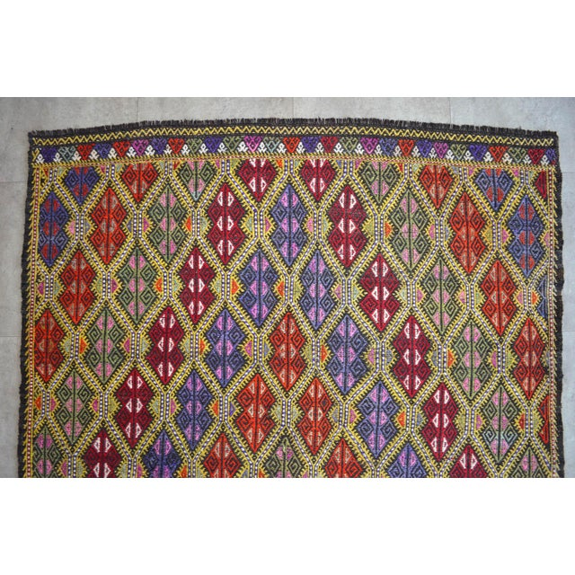 Masterpice Hand Woven Vintage Braided Turkish Rug Wool Kilim Jajim- 5′7″ × 9′2″ For Sale In Raleigh - Image 6 of 11