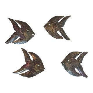 Jere Era Brutalist Metal Fish Wall Sculptures – Set of 4 For Sale