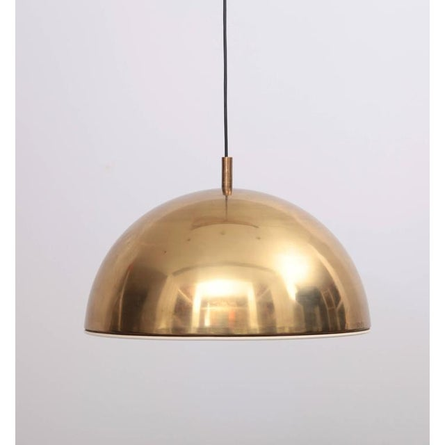 Italian Huge Brass Pendant Lamp from 1960s Italy with White Enamel Inner Shade For Sale - Image 3 of 9