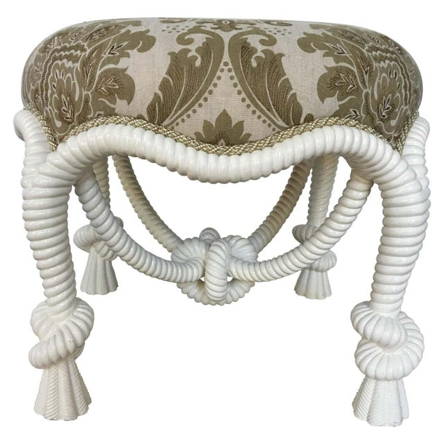 20th Century Napoleon III Style Lacquered Rope Twist Upholstered Tabouret For Sale - Image 9 of 9