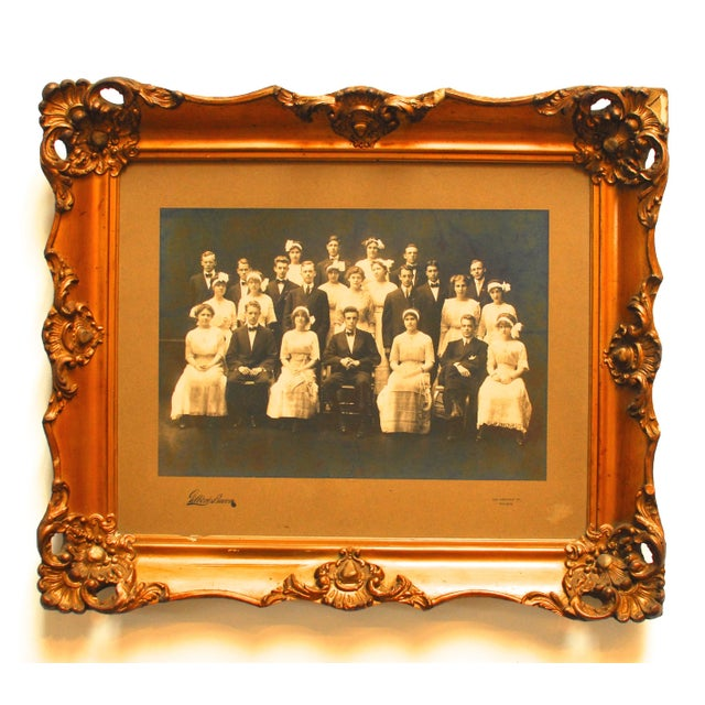 Antique, original Gilbert & Bacon framed group/class photo from Chestnut Street Philadelphia Studio. Mounted on board and...