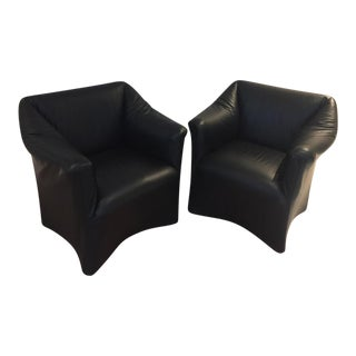 Vintage Mario Bellini for Cassina Tentazione Leather Armchairs - A Pair