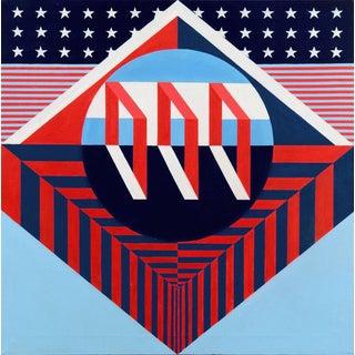 'Flag Medley' Circa 1970s; Pop Art, Americana, Modernist American Constructivist Oil For Sale