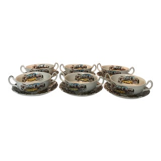 """Sunday Morning"" W H Grindley Doubled Handled Soup & Saucers - Set of 6 For Sale"