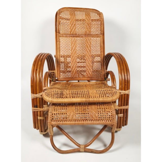 Wood Rattan Reclining Lounge Chair W/ Ottoman For Sale - Image 7 of 10