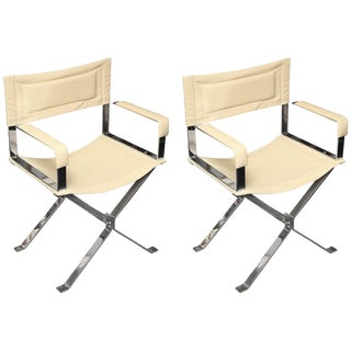 """Albrizzi Mid-Century """"Directors"""" Chairs - a Pair For Sale"""