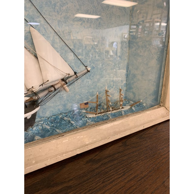 Vintage Nautical Diorama Art Piece in Shadowbox For Sale In Milwaukee - Image 6 of 10