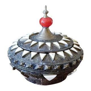 Vintage Moroccan Metal Jewelry Box or Canister For Sale