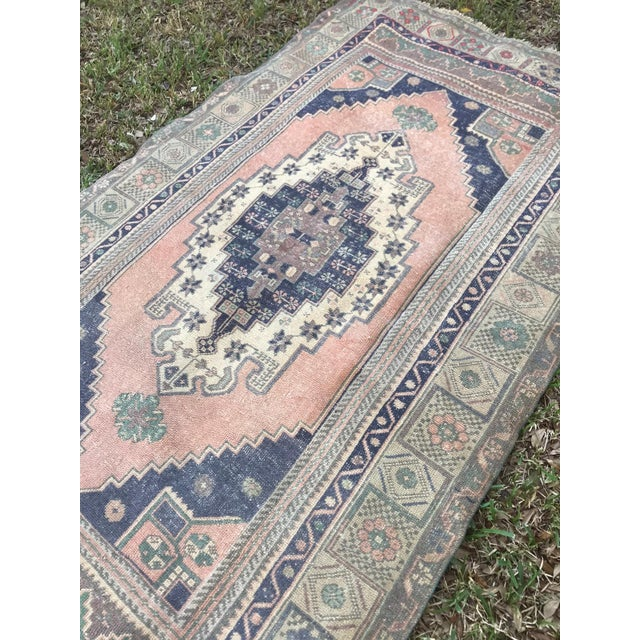 1960s Muted Pastel Turkish Oushak Rug For Sale - Image 5 of 8