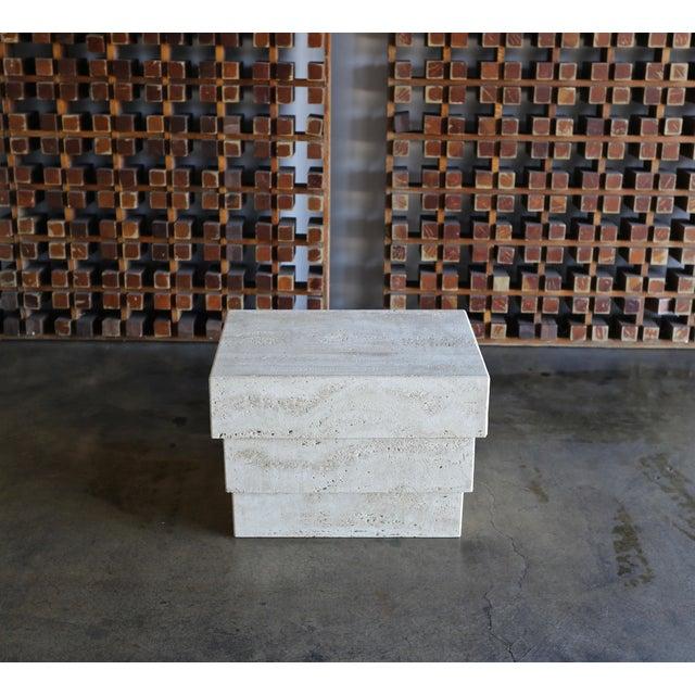 Sculptural modernist travertine side table or pedestal circa 1980.