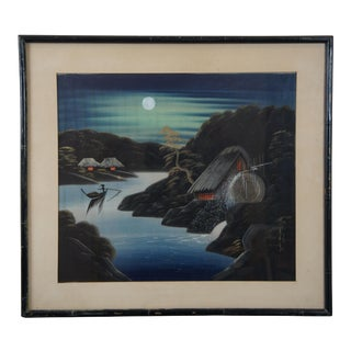 Mid-Century Japanese Riverscape Landscape Waterwheel Silk Painting on Linen For Sale