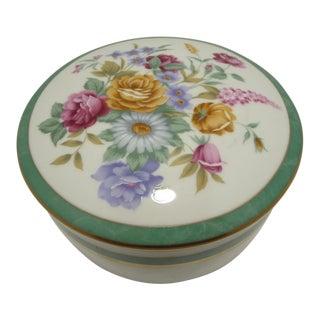 Mikasa Floral Porcelain Round Vanity Box Aqua For Sale