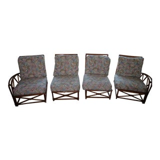 Heywood Wakefield Mid-Century Cane Chairs & Cushions - Set of 4 For Sale