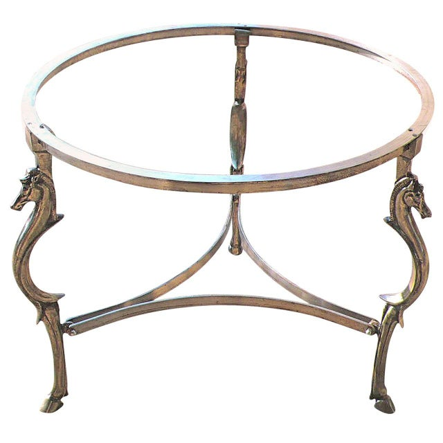 1940s Cast Steel Center Table With Decorative Horse Heads, Attributed to Maison Jansen For Sale - Image 5 of 5