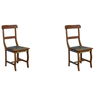 Reclaimed Peroba Wood Lath Chairs - A Pair