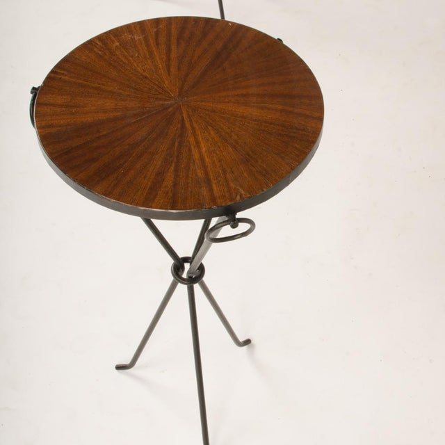 2010s Contemporary Wrought Iron Drink Tables With Parquet Tops in the Manner of Jean-Michel Frank - a Pair For Sale - Image 5 of 8
