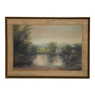 English Country Landscape W/ Thatched Roof Cottage Framed Painting C.1930s For Sale