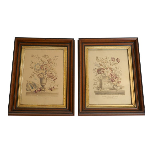 19th Century French Hand Colored Floral Etchings-A Pair For Sale