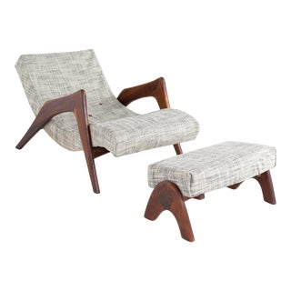 Adrian Pearsall for Craft Associates Mid Century Chaise Lounge Chair and Ottoman For Sale