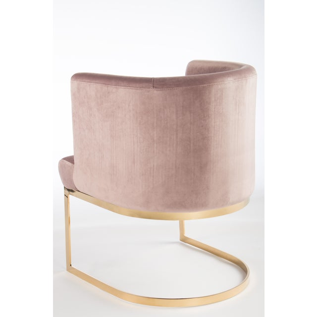 Modern Modern Blush Velvet & Gold Circular Accent Chairs - Set of 6 For Sale - Image 3 of 5