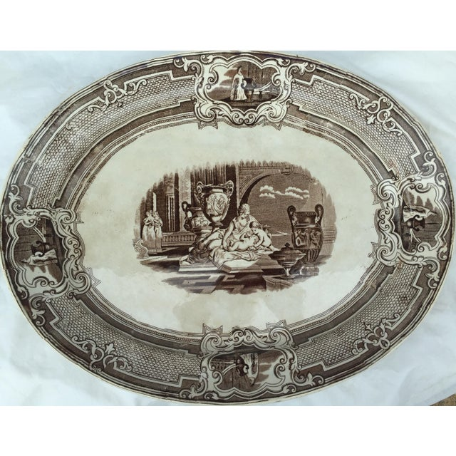 English Brown & White Transfer Ware Platter - Image 2 of 5