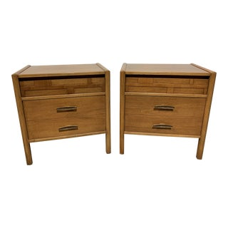 1960s Mid Century Modern Dixie Furniture Co. Pair of Walnut Night Stands - a Pair For Sale