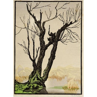Mountains & Tree Foggy Day Woodblock Print For Sale