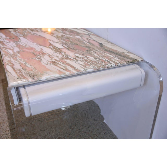 Acrylic Vanity or Desk in Lucite and Marble by Lion in Frost For Sale - Image 7 of 11