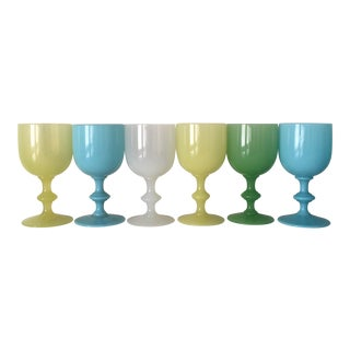 1900s Portieux Vallerysthal French Water Goblets - Set of 6