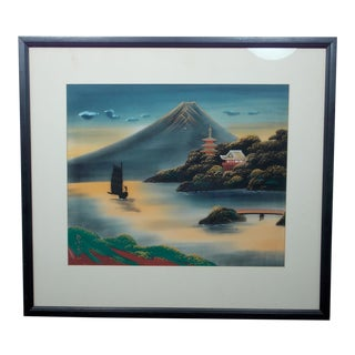 Vintage Chinese Pagoda Scene Landscape Signed Watercolor Painting on Silk For Sale