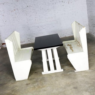 Rustic Arts and Crafts Black and White Diner Booth Banquette Table and Benches Preview