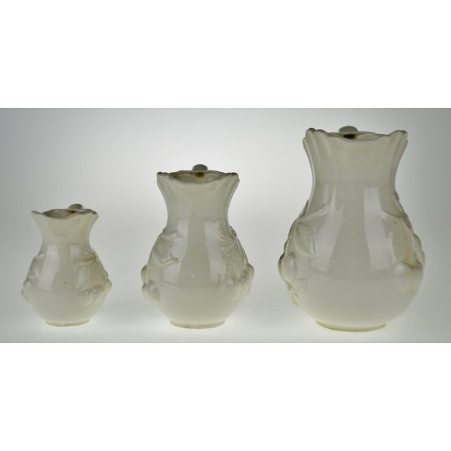 Early White Porcelain Pitchers with Relief Cherry Drop Design - Set of 3 For Sale - Image 5 of 11