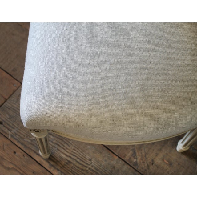 Linen Early 20th Century Louis XVI Style Painted and Upholstered Childs Chairs - a Pair For Sale - Image 7 of 13