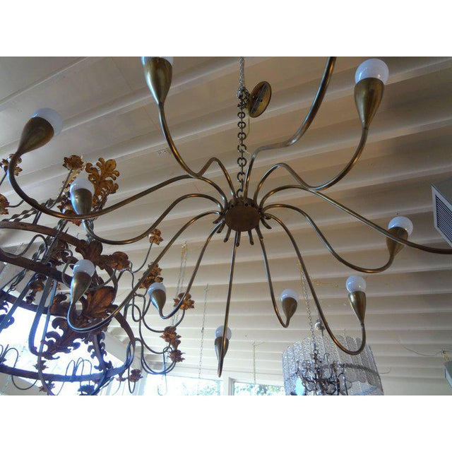 Sciolari, Roma Italian Mid Century Modern Brass Chandelier, Stilnovo Style For Sale - Image 4 of 7
