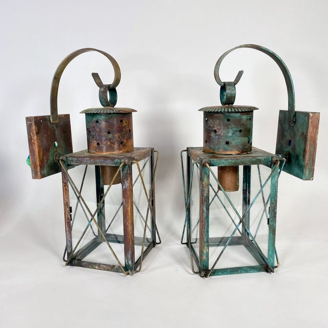 2000 - 2009 Solid Copper Custom-Made Outdoor Wall Lanterns by Genie House, Set of 4 For Sale - Image 5 of 13