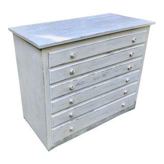 1960s Vintage 6 Drawer Wood Flat File Cabinet For Sale