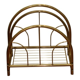 Rosalco Mid Century Gold Tone Metal Commodore Collection Magazine Rack For Sale