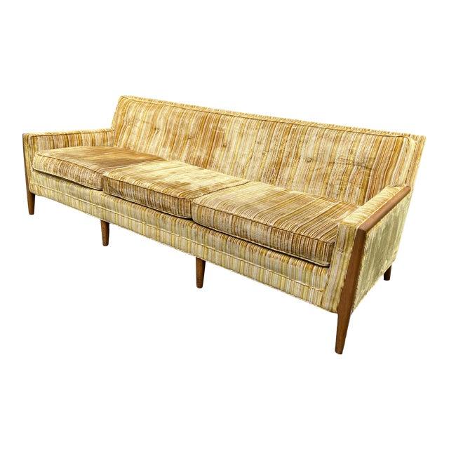 Mid-Century Modern Yellow Striped Variegated Velvet Sofa For Sale