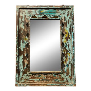Small Square Reclaimed Wood Mirror For Sale