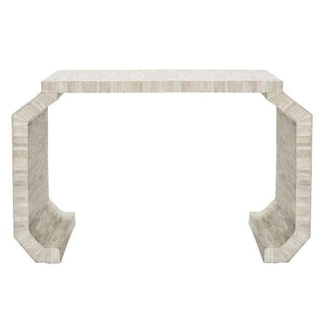 Modern Natural Bone Console Table with faceted legs by Worlds Away For Sale - Image 3 of 3