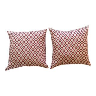 "Manuel Canovas Red & Cream Diamond ""Ales"" Woven Pillows - a Pair For Sale"