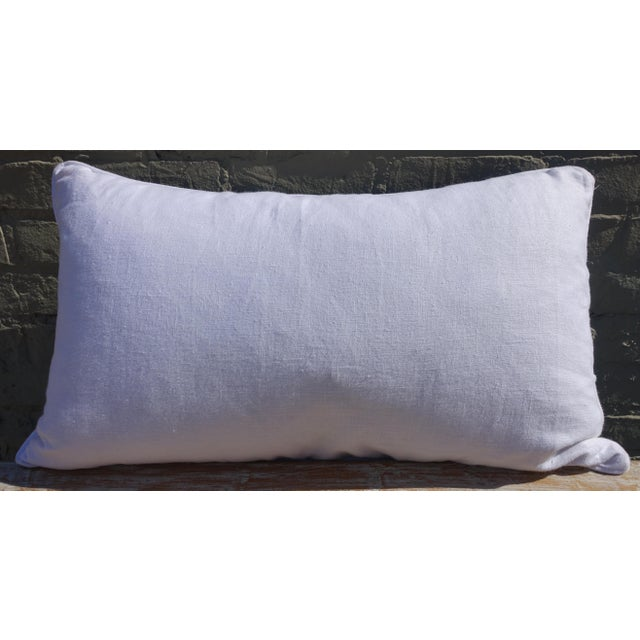 Rectangular Blue & White Batik Floral Pillow For Sale In Los Angeles - Image 6 of 6