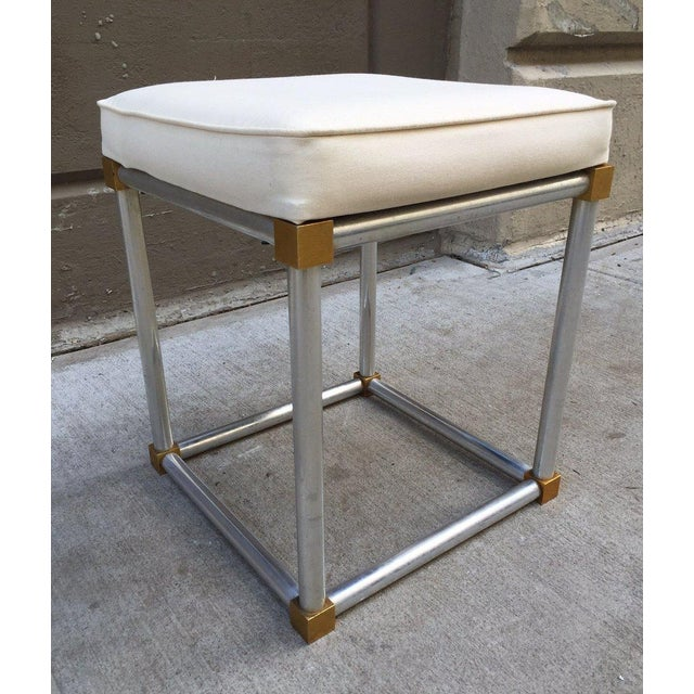 French Chrome and Brass Stool For Sale - Image 4 of 4