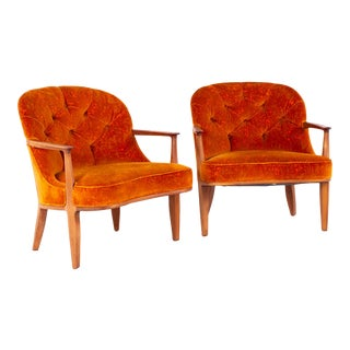 Mid Century Edward Wormley for Dunbar Tufted Barrel Lounge Chairs - Pair For Sale