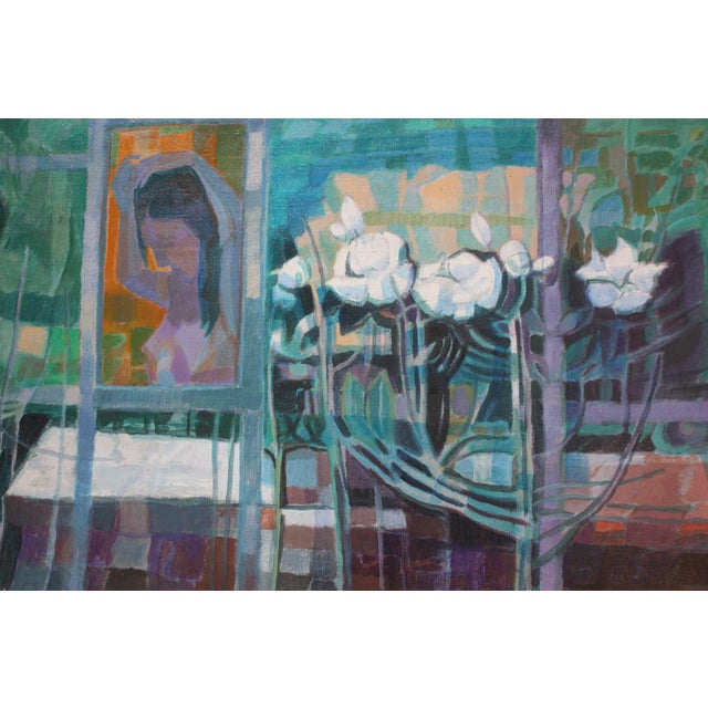 'Woman With Flowers' Acrylic on Canvas by Peppino Mangravite For Sale - Image 9 of 12
