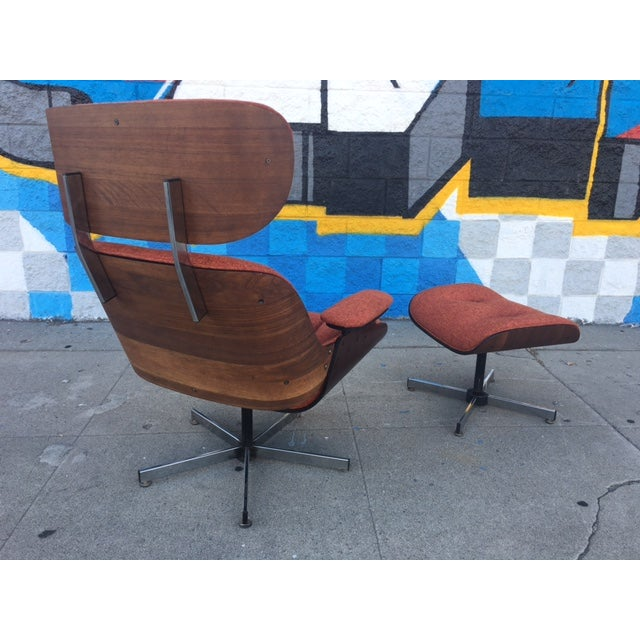 Mid-Century Lounge Chair & Ottoman - Image 4 of 5