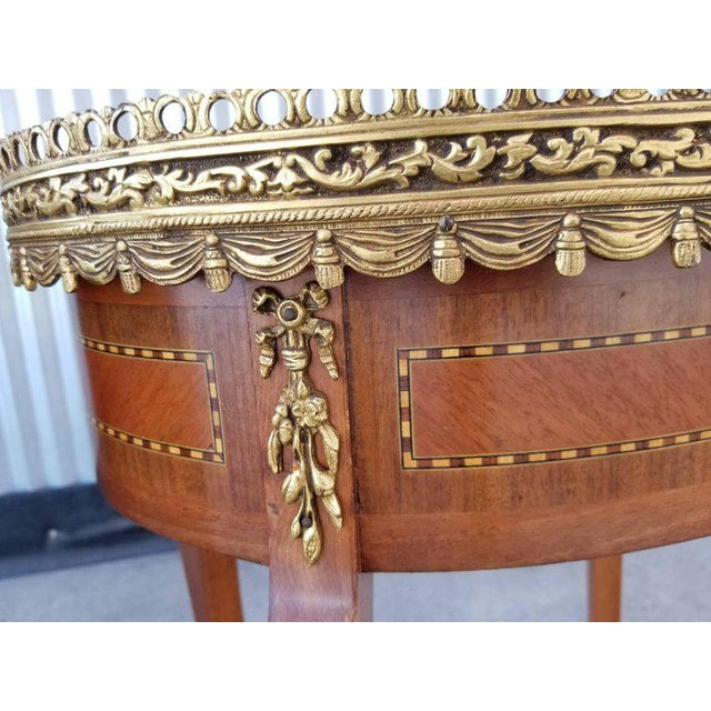 Louis XV Style End Marble Top Tables or Nightstands - a Pair For Sale - Image 4 of 7